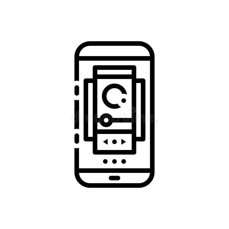 Zwart lijnpictogram voor Carrousel, rotonde en vrolijk vector illustratie