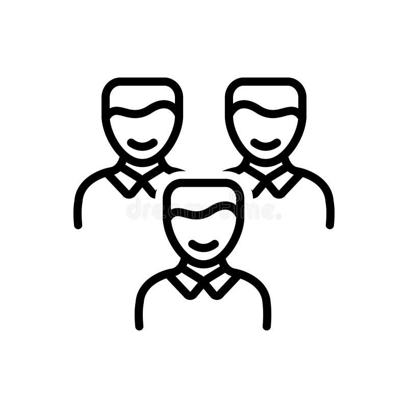Zwart lijnpictogram voor Cliënten, klant en mensen vector illustratie