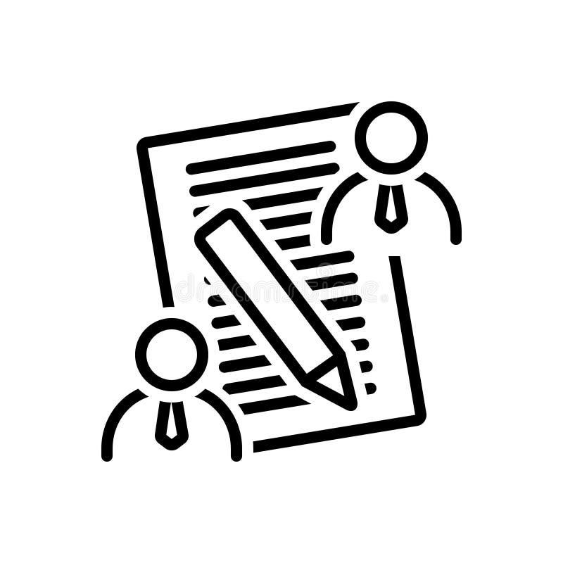 Zwart lijnpictogram voor Cliëntmemorandum, overleg en zaken stock illustratie