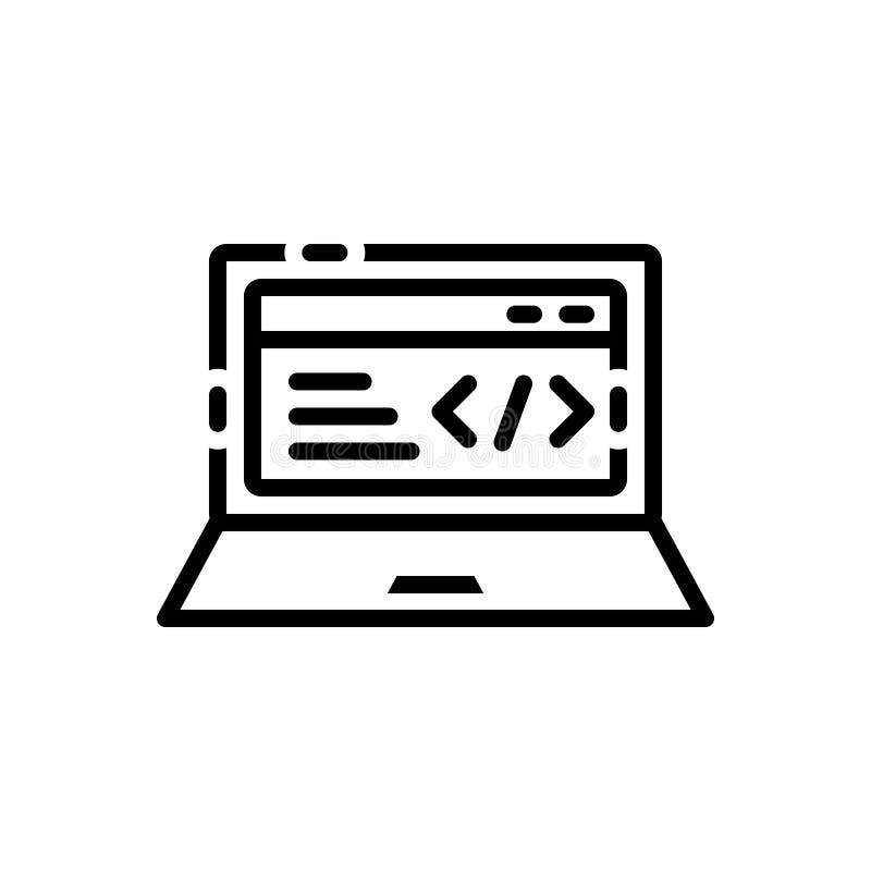 Zwart lijnpictogram voor Code, Optimalisering en programmeur stock illustratie