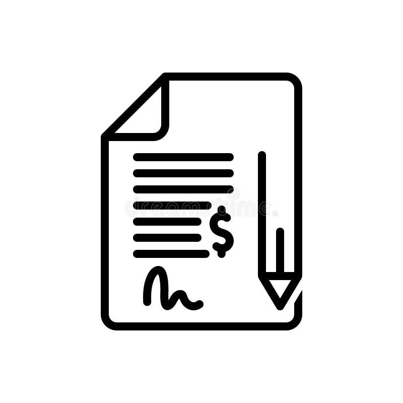 Zwart lijnpictogram voor Contract, band en verplichting vector illustratie