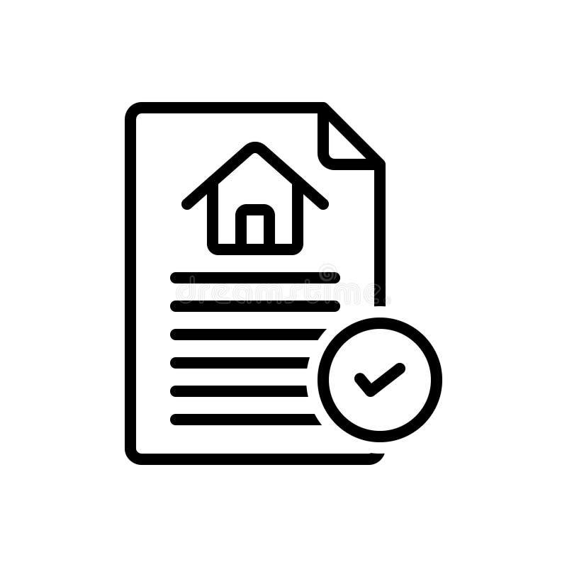 Zwart lijnpictogram voor Contract, overeenkomst en band stock illustratie
