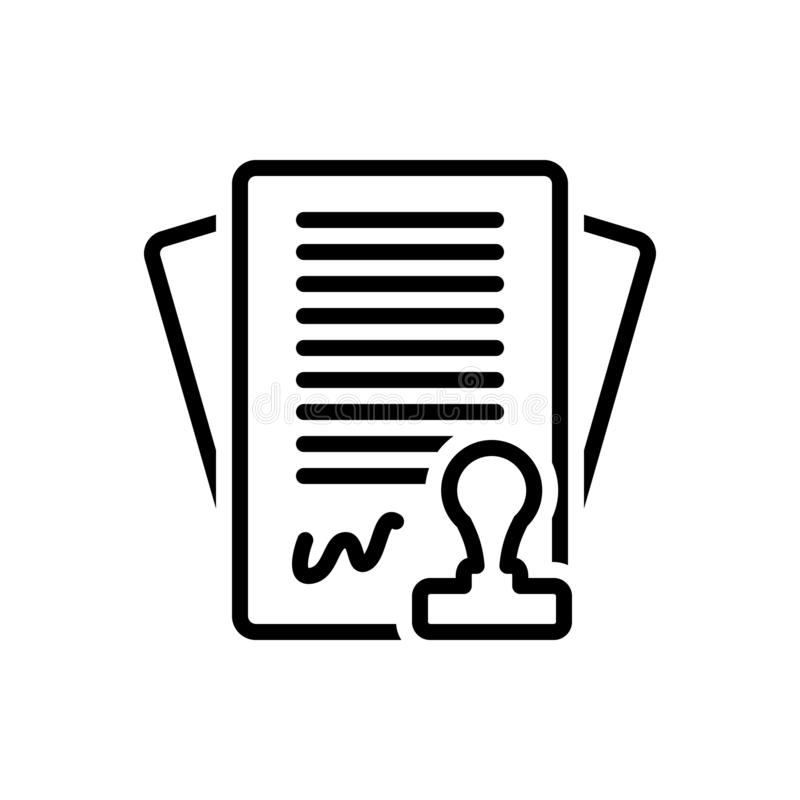 Zwart lijnpictogram voor Contract, regeling en band vector illustratie