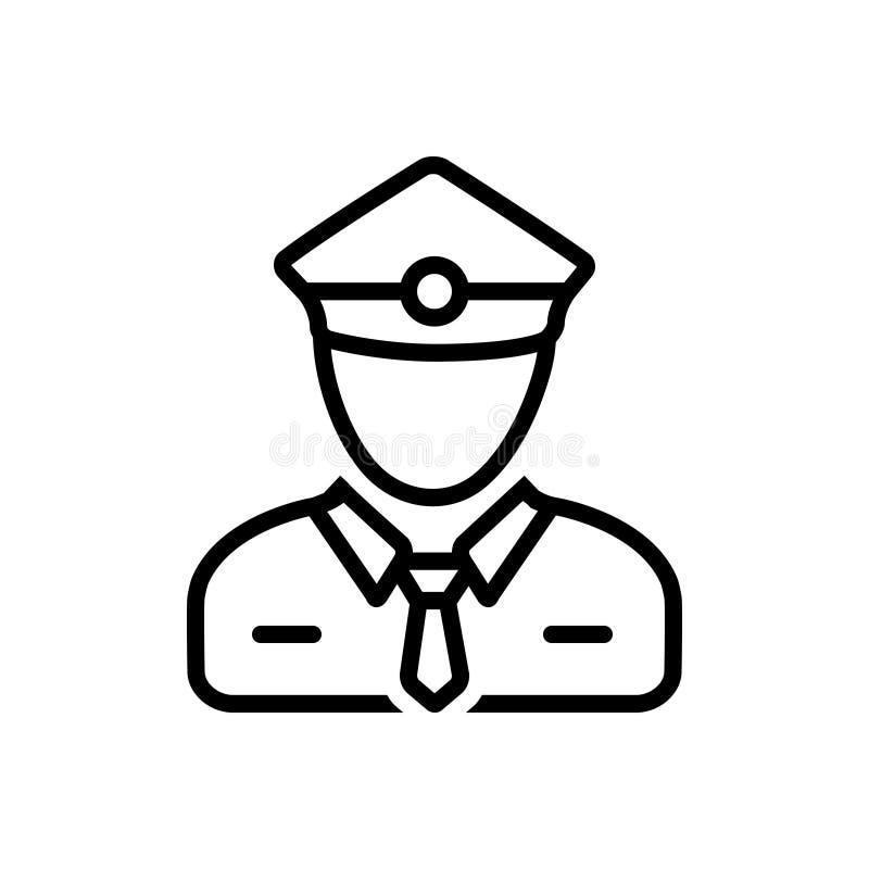 Zwart lijnpictogram voor Controleur, controleur en persoon royalty-vrije illustratie