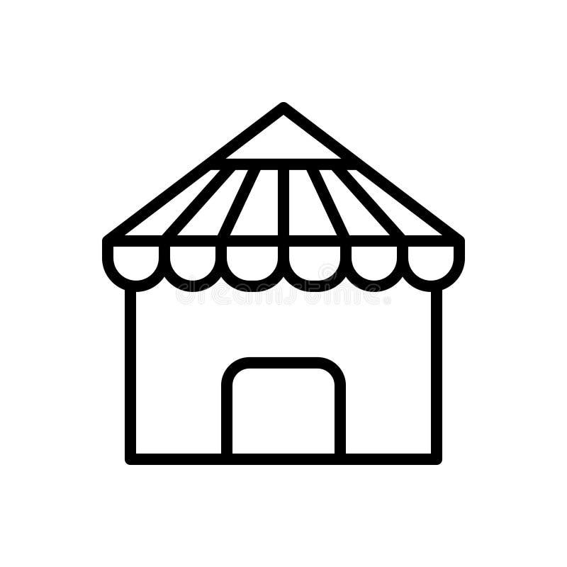 Zwart lijnpictogram voor Dak, huis en architectuur vector illustratie