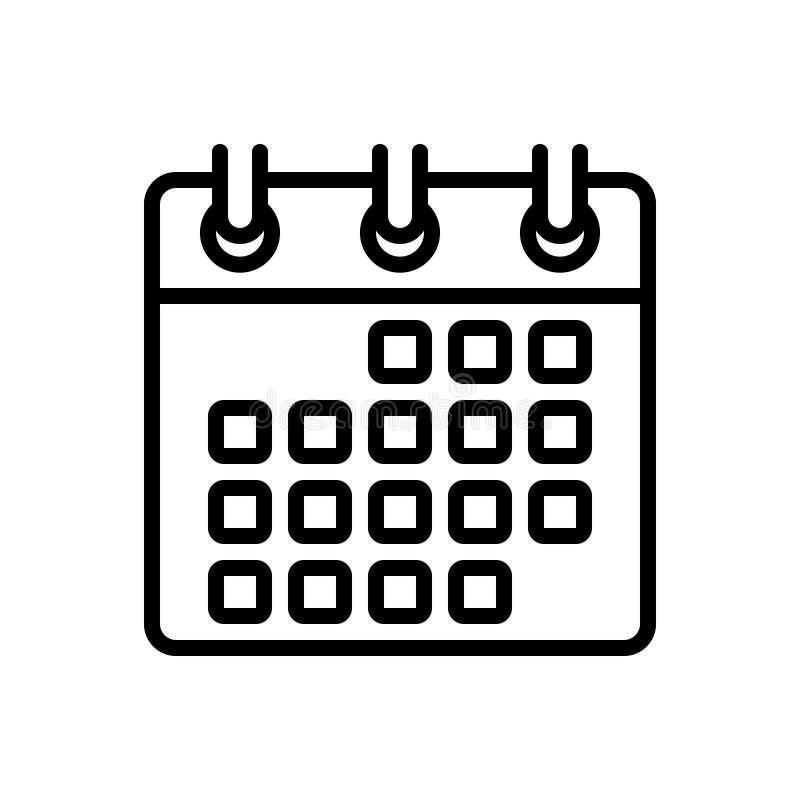 Zwart lijnpictogram voor datum, kalender en gelegenheid vector illustratie