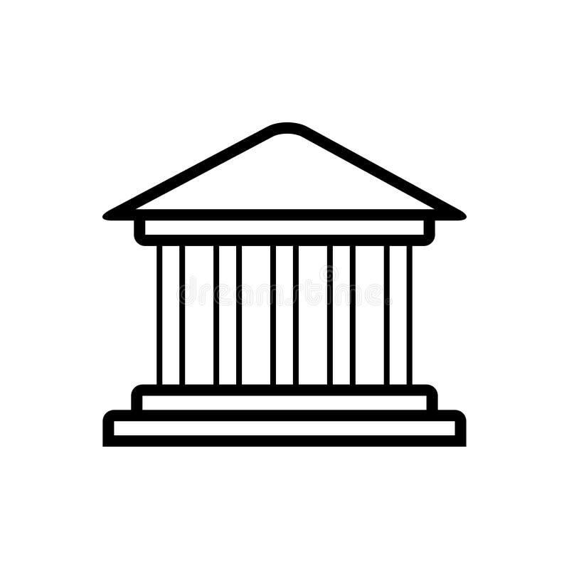 Zwart lijnpictogram voor de Monumentenbouw, parthenon en oriëntatiepunt royalty-vrije illustratie