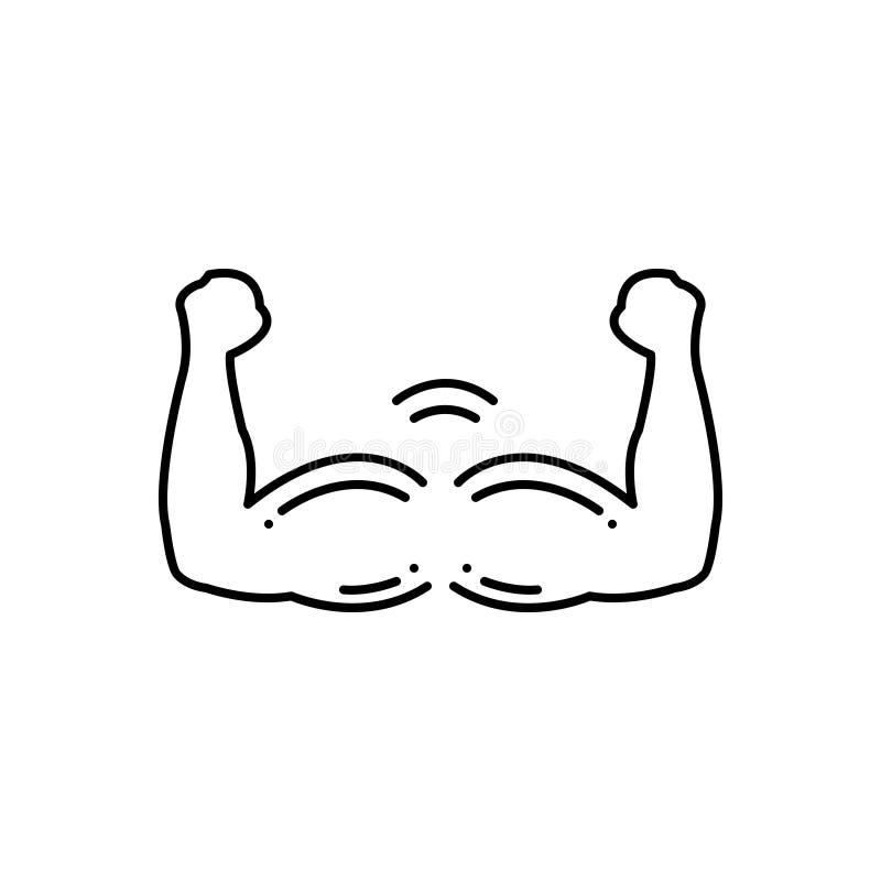 Zwart lijnpictogram voor de Spiergroei, mannelijkheid en medisch stock illustratie