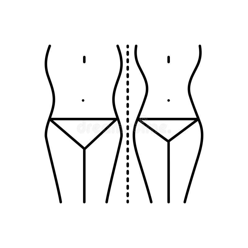 Zwart lijnpictogram voor Dieetcontrole, taille en medisch vector illustratie