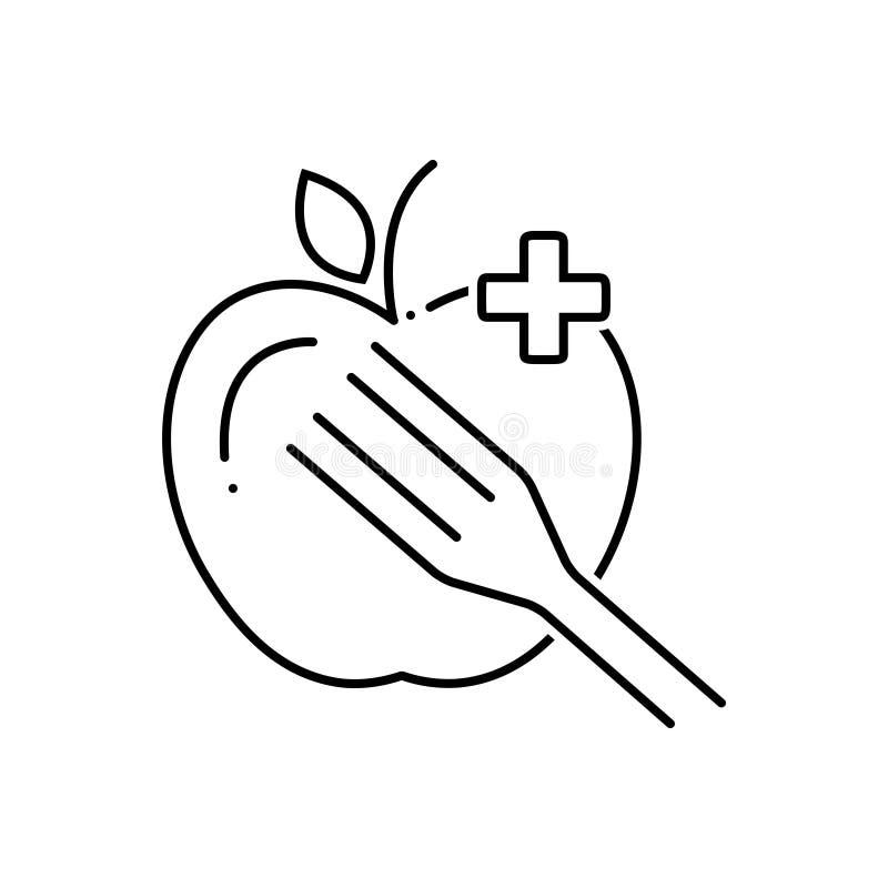 Zwart lijnpictogram voor Dieetvoeding, gezond en voedzaam stock illustratie