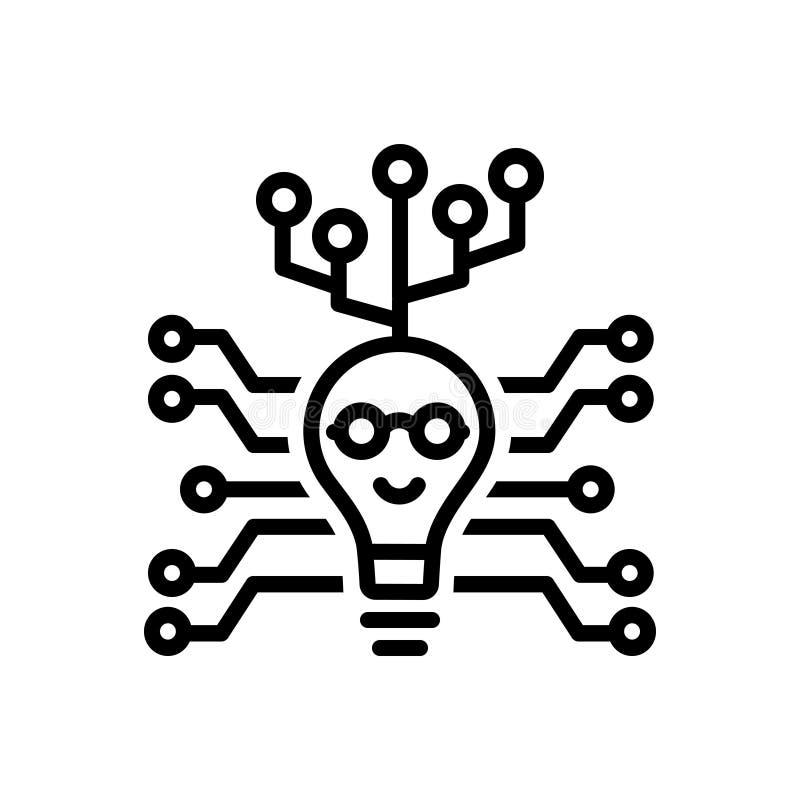 Zwart lijnpictogram voor Digitaal, technologie en kring stock illustratie