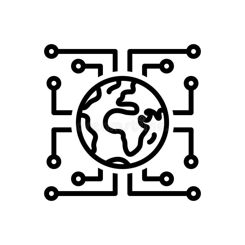 Zwart lijnpictogram voor Digitalisering, technologie en cyber vector illustratie