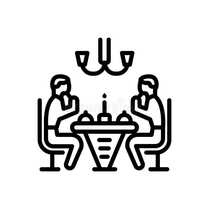 Zwart lijnpictogram voor Diner, eetbaar en mensen vector illustratie
