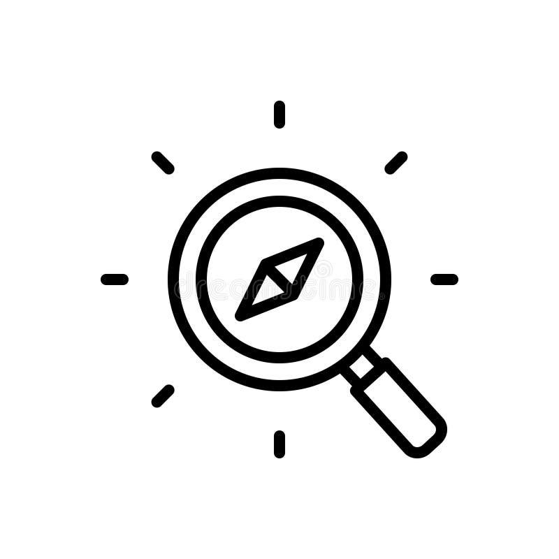 Zwart lijnpictogram voor Discover, onderzoek en kompas stock illustratie