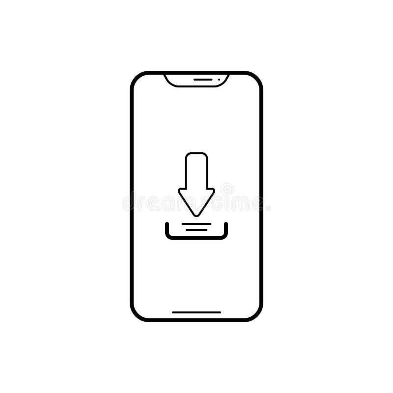 Zwart lijnpictogram voor Download app, telefoon en software royalty-vrije illustratie