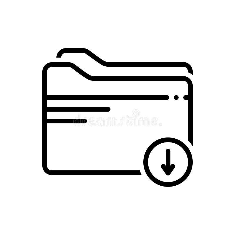 Zwart lijnpictogram voor Download, Omslag en dossier royalty-vrije illustratie