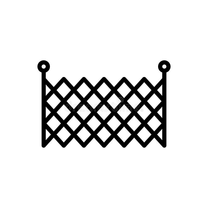 Zwart lijnpictogram voor draad, barricade en Omheining royalty-vrije illustratie