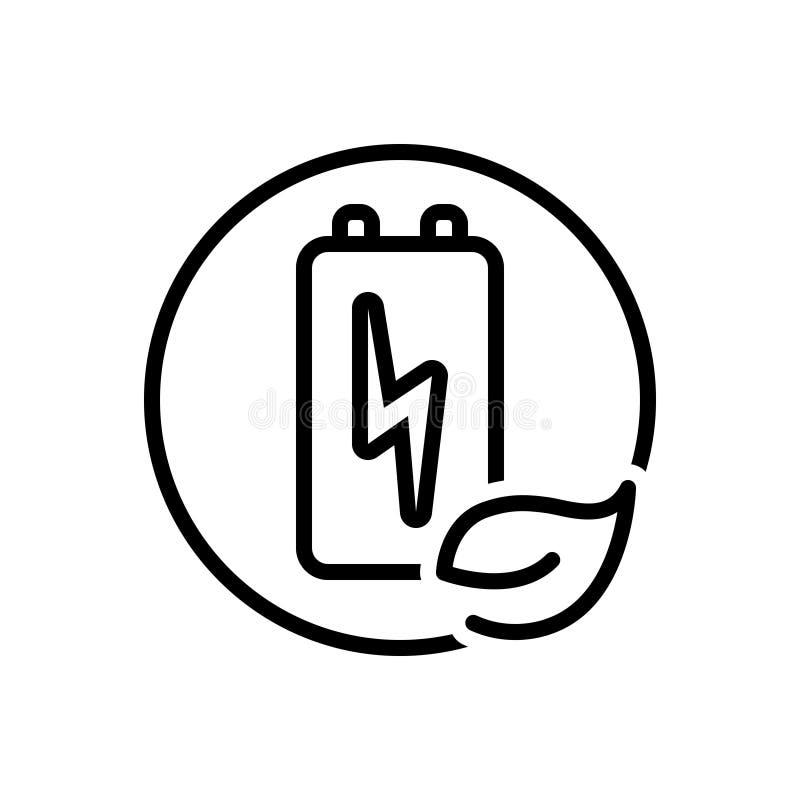 Zwart lijnpictogram voor Duurzame energie, vernieuwbaar en duurzaam royalty-vrije illustratie
