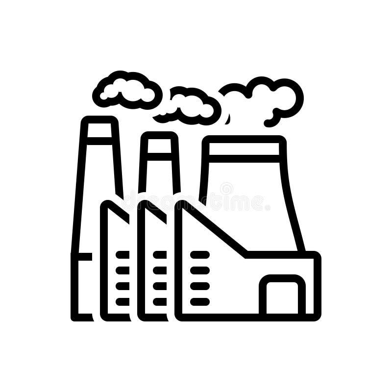 Zwart lijnpictogram voor Elektrische centrale, kerncentrale en thermisch royalty-vrije illustratie