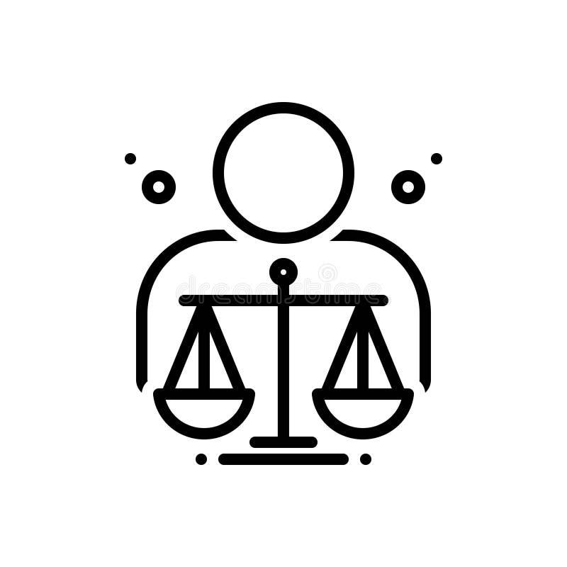 Zwart lijnpictogram voor Ethisch, moreel en rechtschapen vector illustratie