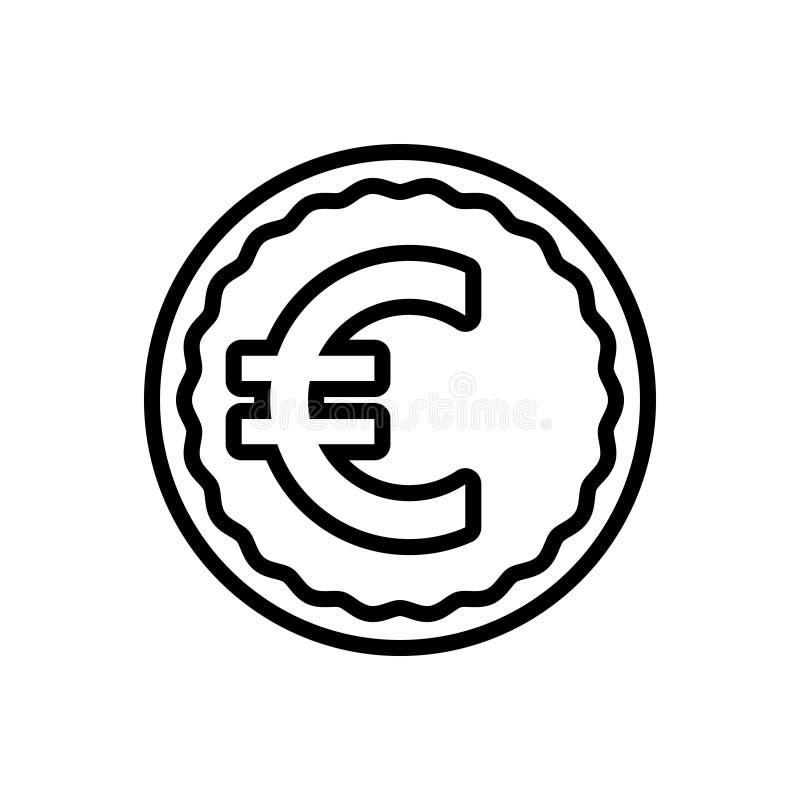 Zwart lijnpictogram voor Euro, uitwisseling en betaling vector illustratie