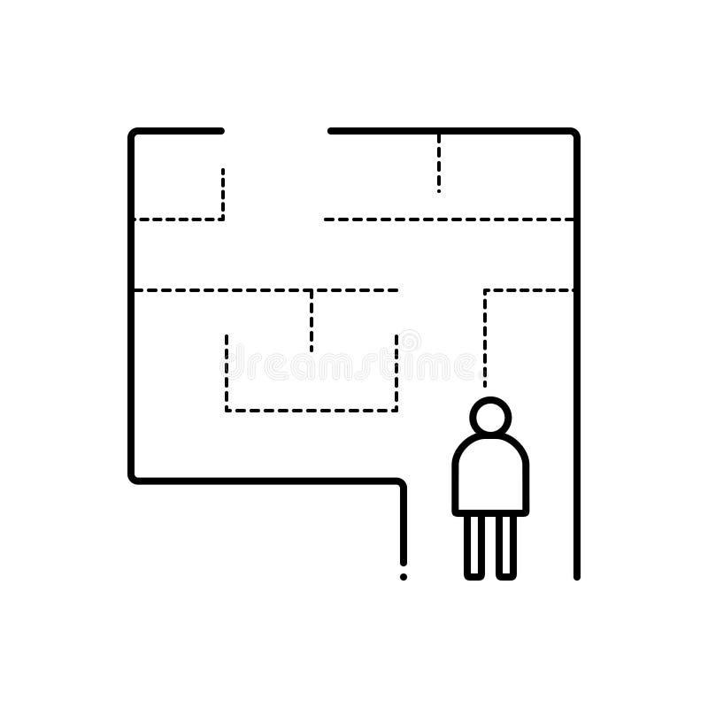 Zwart lijnpictogram voor Evacuatie, plan en uitgang vector illustratie