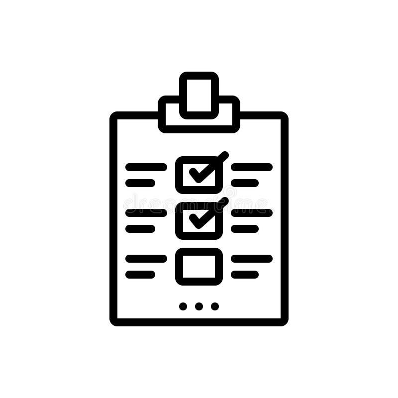 Zwart lijnpictogram voor Evaluatie, beoordeling en bericht royalty-vrije illustratie