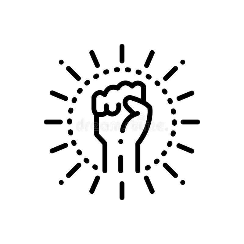 Zwart lijnpictogram voor Extremism, hand en radicalisme stock illustratie
