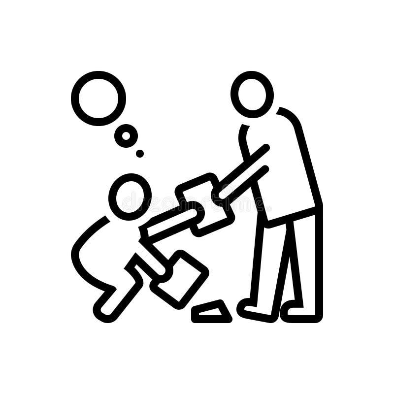 Zwart lijnpictogram voor Fatsoen, eerbied en urbanity stock illustratie