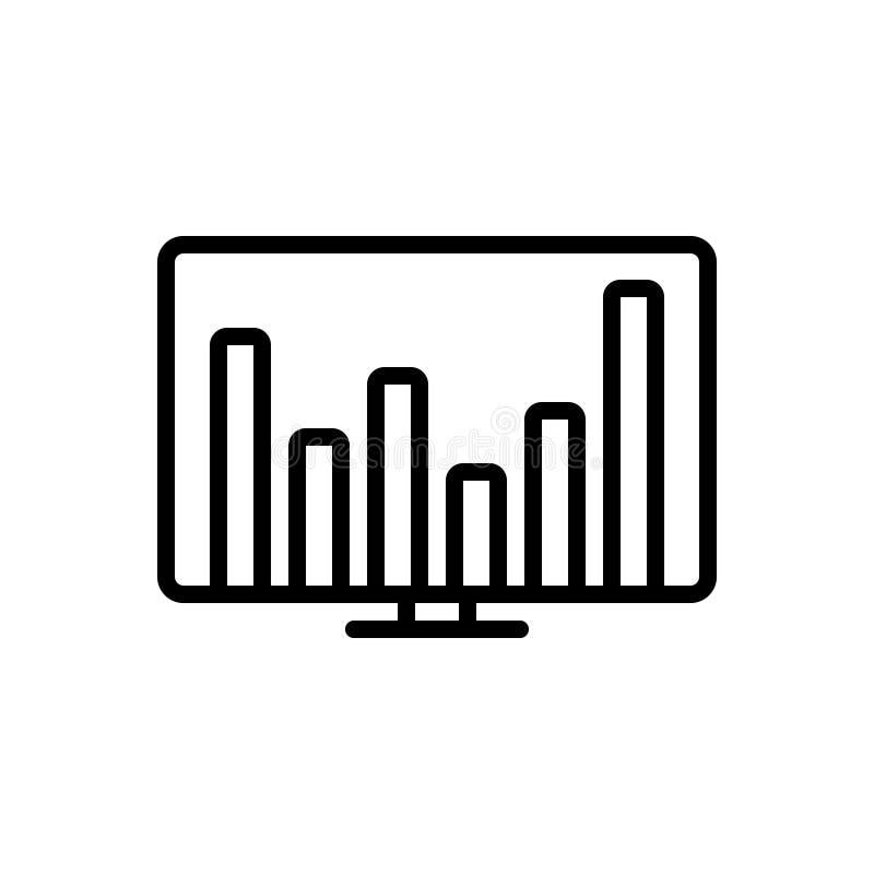 Zwart lijnpictogram voor Financiële Gegevens, financieel en gegevens vector illustratie