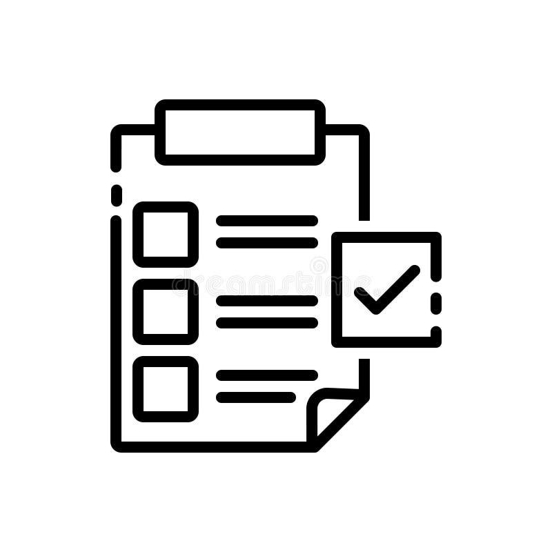 Zwart lijnpictogram voor Folder, Voorlegging en lijsten vector illustratie