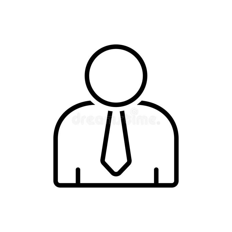 Zwart lijnpictogram voor Gebruiker, klant en clientèle stock illustratie