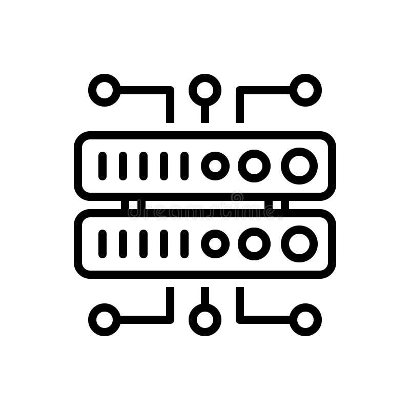 Zwart lijnpictogram voor Gegevens, infrastructuur en digitaal vector illustratie