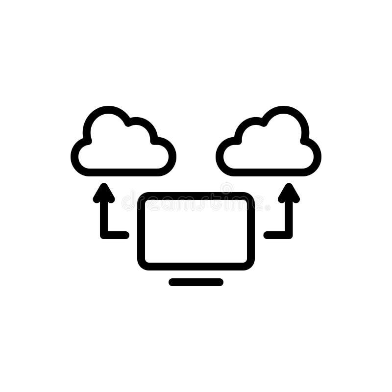Zwart lijnpictogram voor Gegevensverwerkingswolk, gegevensverwerking en mededeling stock illustratie