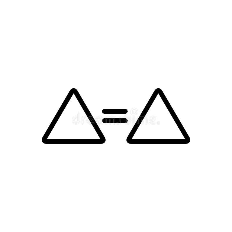 Zwart lijnpictogram voor Gelijke, teken en zelfde stock illustratie