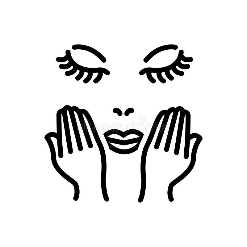 Zwart lijnpictogram voor Gezicht, zorg en skincare royalty-vrije illustratie