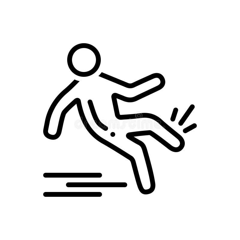 Zwart lijnpictogram voor Glad, daling en verwonding stock illustratie