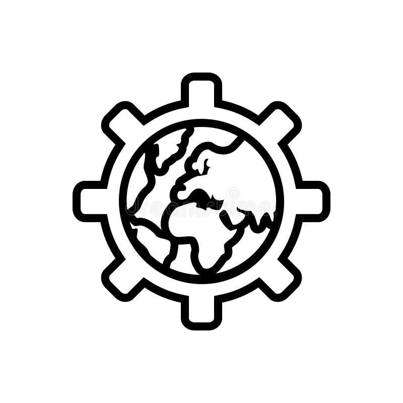 Zwart lijnpictogram voor Globalisering, globaal en internationaal vector illustratie