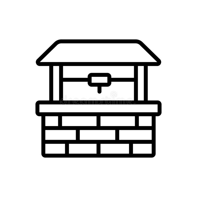 Zwart lijnpictogram voor goed, kuil en water stock illustratie