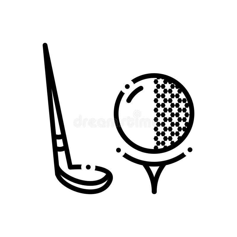 Zwart lijnpictogram voor Golf, bal en tennis stock illustratie