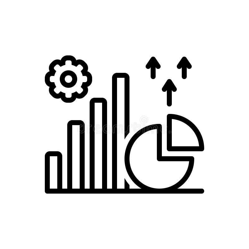 Zwart lijnpictogram voor Grafisch, beschrijvend en grafisch royalty-vrije illustratie