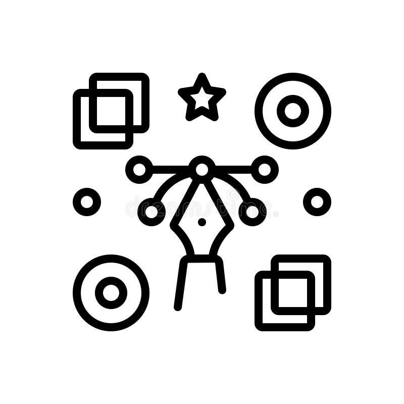 Zwart lijnpictogram voor Grafisch, concreet en bewegend vector illustratie