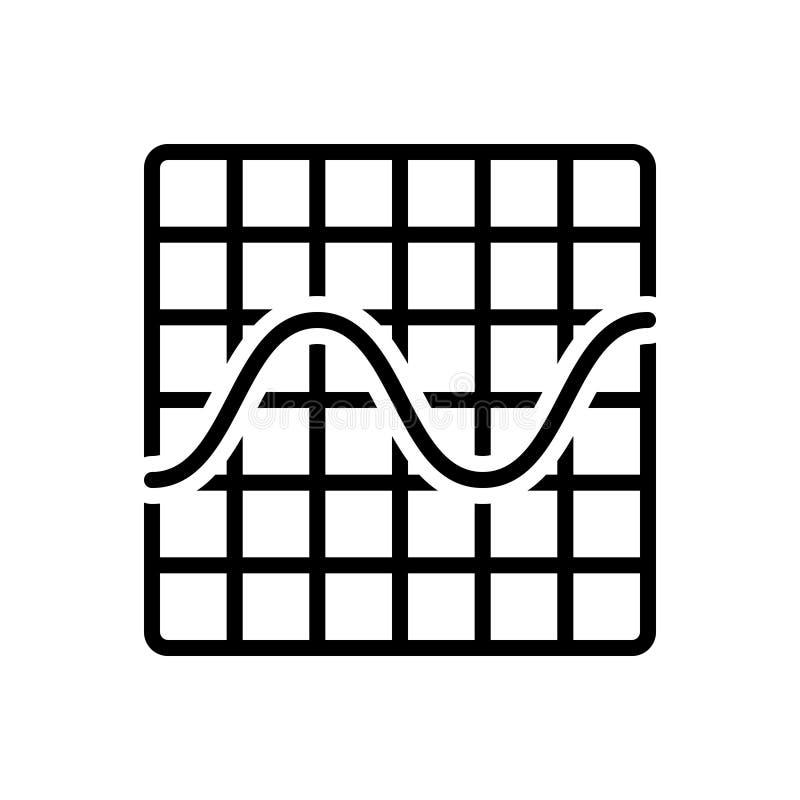 Zwart lijnpictogram voor Grafische Sinusgolf, frequentie en golfvorm royalty-vrije illustratie