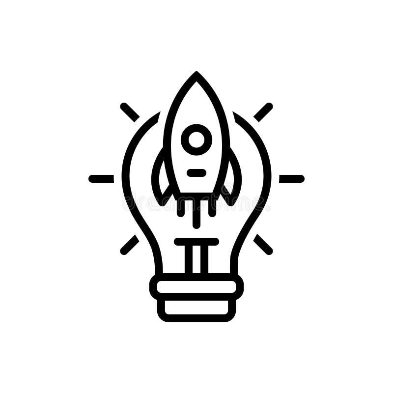 Zwart lijnpictogram voor Groot Idee, conclusie en begrip vector illustratie