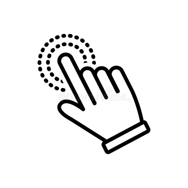 Zwart lijnpictogram voor Handcurseur, vinger en wijzer stock illustratie