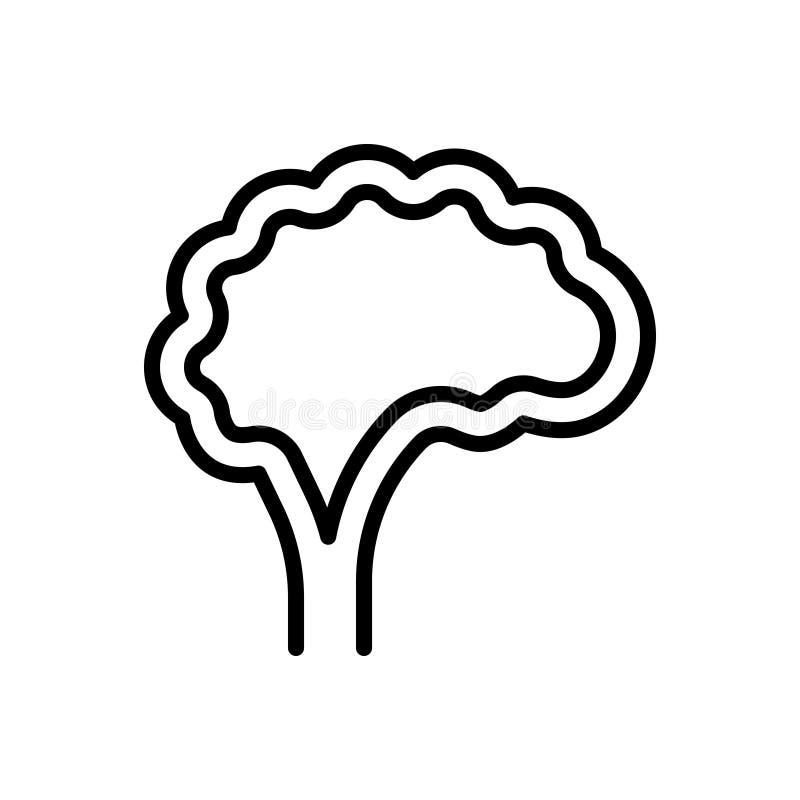 Zwart lijnpictogram voor Hersenen, verstand en hoofd royalty-vrije illustratie