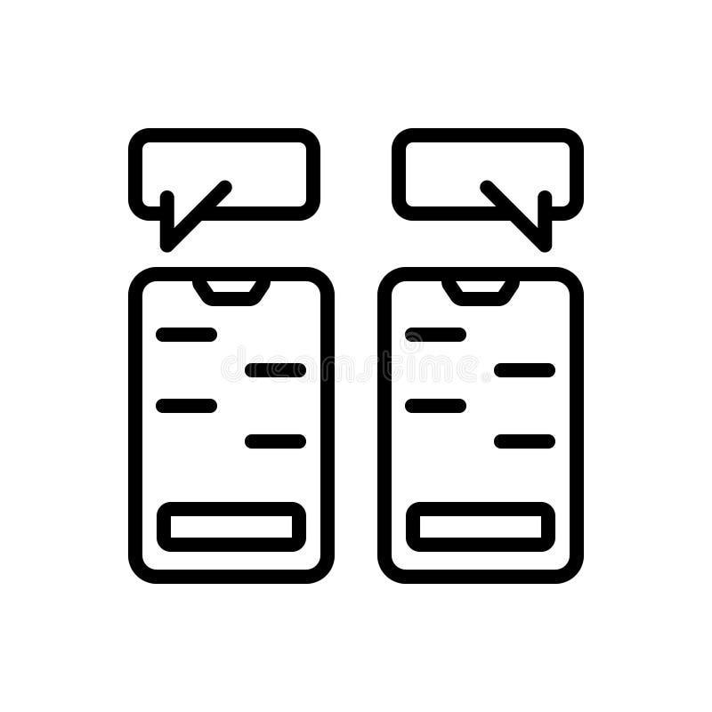 Zwart lijnpictogram voor het Babbelen, overseinen en app vector illustratie