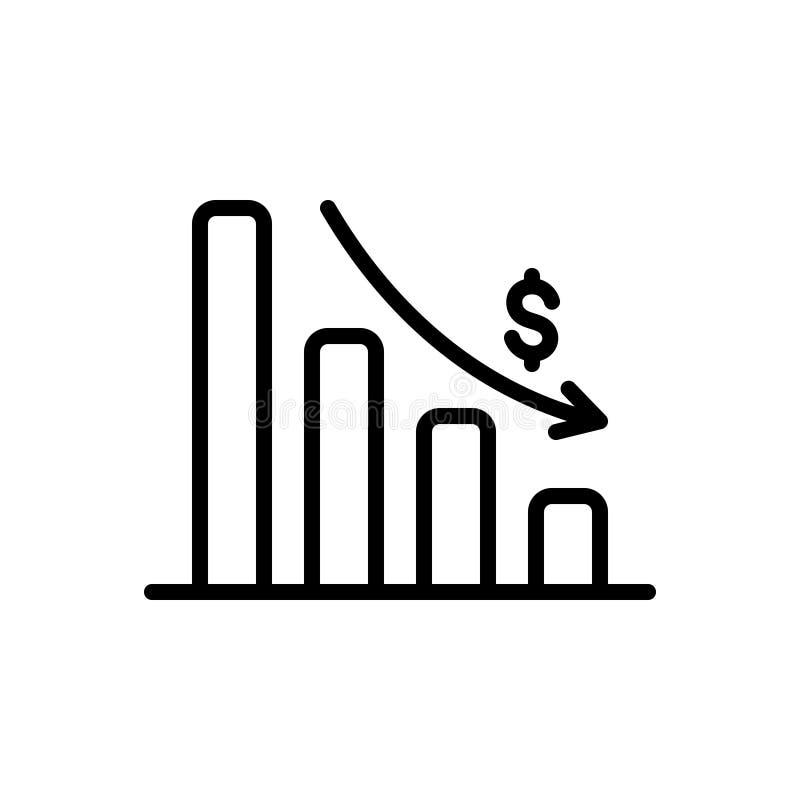 Zwart lijnpictogram voor het Uitputten van Grafiek, analytics en app vector illustratie