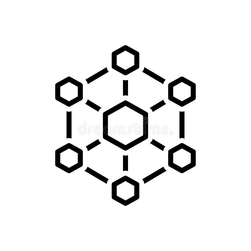 Zwart lijnpictogram voor Hexagonale Interconnecties, interconnectiviteit en digitaal vector illustratie