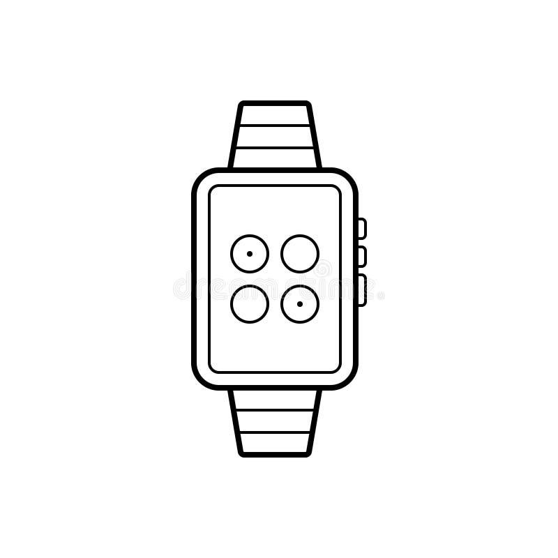 Zwart lijnpictogram voor Horlogesynchronisatie, gadget en smartphone stock illustratie